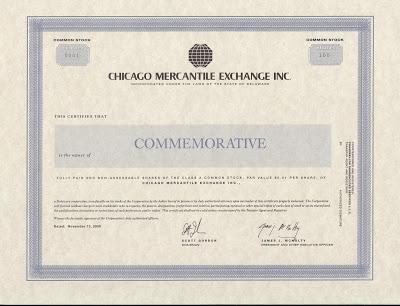 CME stock certificate