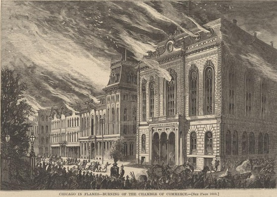 1871 Chicago Chamber of Commerce burning